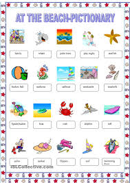 at the beach pictionary travel time pinterest worksheets