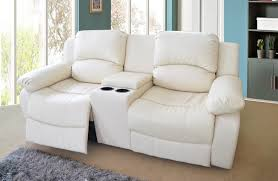 Love Sofas 2 Seater Bonded Leather Recliner Sofa With Drinks Console Cream