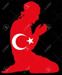 Turkey National Flag Islamic Religion Pose Of Muslim Man Praying Vector Silhouette