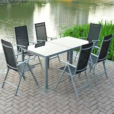 Alu Chair Design Ideas Aluminium Set Rectangular Extending Table With 6 Folding Chair