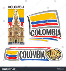 State Flag Meanings Vector Logo Colombia 3 Isolated Images Stock Vektorgrafik