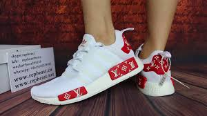 supreme x lv x adidas nmd r1 white boost on feet youtube