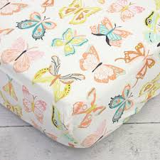 buttercup coral butterfly crib bedding set by caden lane