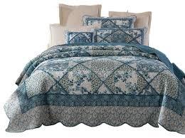 turquoise quilted coverlet tache petal dance 100 cotton floral blue quilt bedspread set