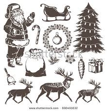 Christmas Decorations Reindeer by Christmas Decorations Stencil Style Holiday Emblems Stock Vector