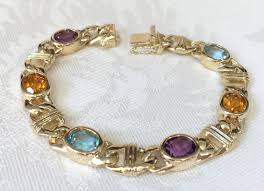gemstone link bracelet images Gemstone bracelet anchor link tennis bracelet 14k yellow gold jpg
