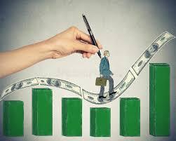 growing chart businessman climbing up on money dollar bills hill growing chart