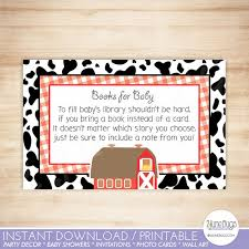 Baby Shower Instead Of A Card Bring A Book Farm Baby Shower Bring A Book Instead Of Card Barnyard Baby