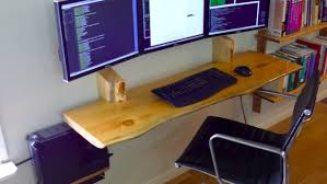 Diy Floating Computer Desk The Floating Crafted Wood Monitor Workspace Woods
