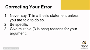 Thesis Sentences Weak Thesis Statements Youtube