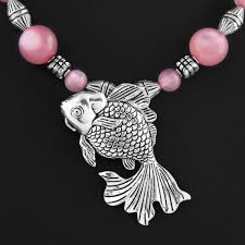 pink chain necklace images Fish german silver pendant with pink purple beads chain necklace jpg