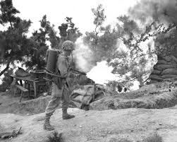 a u s marine uses a flame thrower to burn out an enemy position