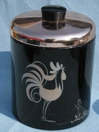 vintage ransburg roosters kitchen canister set black u0026 copper pink