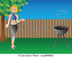 Backyard Clip Art Clip Art Of Bbq Gal Stylish Woman Hosts Bbq In Her Backyard