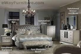 Bedroom Dresser Mirror Metallic Graphite King Leather Bed 5pc Set 2 Nightstands Dresser