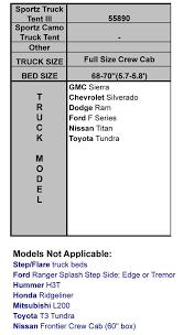 Ford Ranger Bed Dimensions Sportz Truck Tent Full Size Crew Cab Napier Enterprises 57890