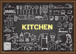 hand drawn kitchen equipment on chalkboard doodles or elements