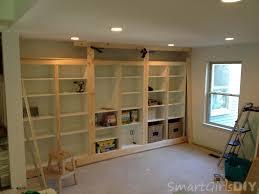 diy built in bookshelves using ikea besta family room 8