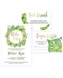 Baby Shower Instead Of A Card Bring A Book Tropical Baby Shower Invitation Set For Girls Tropical Themed