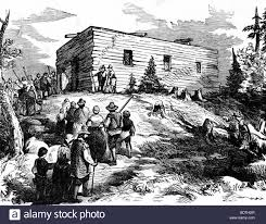 pilgrims thanksgiving history the pilgrims built this church in plymouth colony in 1621and stock