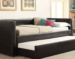 daybed black leather upholstered queen daybed with trundle and