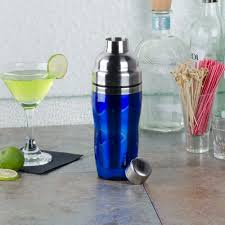 cocktail set american metalcraft bsj16 blue 3 piece 16 oz cocktail shaker set