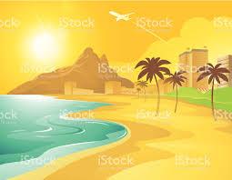 dessin animé de la plage au brésil stock vecteur libres de droits