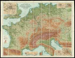 Map Central Europe by Bartholomew U0027s Contour Motoring Map Of Central Europe Showing The