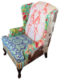 Patchwork Armchair For Sale Amy Butler Fabric Wingback Chair Eclectic Armchairs And Accent