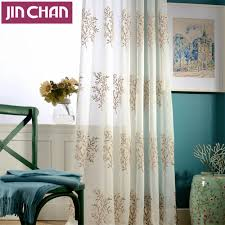 Sheer Curtains Grommet Top Beige Plants Embroidered White Window Voile Tulle Sheer Curtains