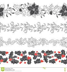 set of decorative strips with christmas plants four types of