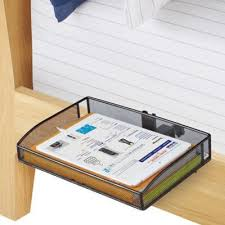 bunk bed table attachment this mesh clip on bunk shelf can attach to a bed post or night