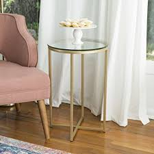 round glass side table amazon com we furniture 16 round side table glass gold kitchen