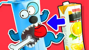 crazy dog made with juice carton easy diy ideas for kids