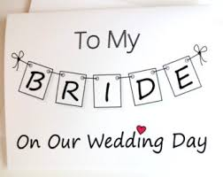 Wedding Day Cards From Groom To Bride To My Bride Card Bride Card From Groom Bride Wedding Day