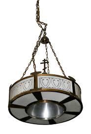 Art Deco Light Fixture Pair Of Large Art Deco Pendant Lights Olde Good Things