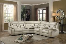 Leather Sectional Sofa With Power Recliner 6 Pc Amite Collection Beige