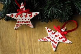 Large Christmas Decorations Nz by 2x Red Star Ceramic Christmas Decorations Felt