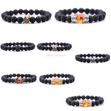 bracelet charms diy images 8 styles crystal crown charms 8mm black lava stone bracelets diy jpg