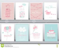 set of baby shower invitations cards poster greeting template