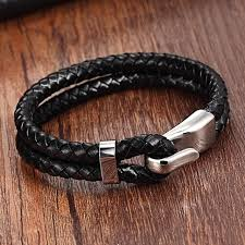 leather women bracelet images Buy silver genuine leather stainless steel jpg