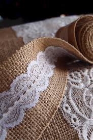 burlap and lace ribbon scalloped lace trim ribbon 2 width x 6 ft