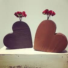 Heart Home Decor Wood Heart Vase Wooden Heart Wooden Heart Vase Heart Shaped