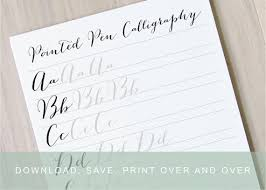 pointed pen calligraphy worksheet bouncy modern calligraphy