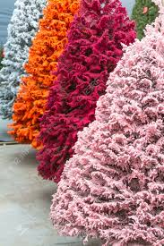 multi colored flocked trees stock photo picture and