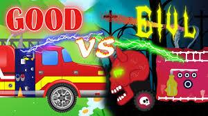 monster truck for children cartoon good vs evil fire trucks for children big truck for kid