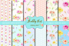shabby chic wrapping paper watercolor digital paper shabby chic patterns creative market