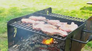 Cooking Over Fire Pit Grill - animals over fire pit being automatic turned meat on the spit
