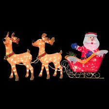 Lighted Sleigh And Reindeer by National Tree Company 34 In Santa And Reindeer With Clear Lights