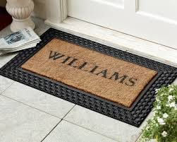 personalized basketweave rubber coir doormats williams sonoma